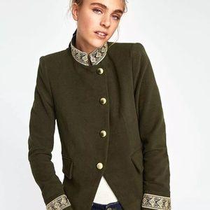 NEW Zara Green Velvet Gold Jacket Coat S Small